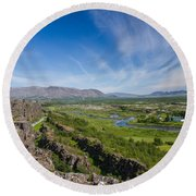 Thingvellir Iceland Round Beach Towel