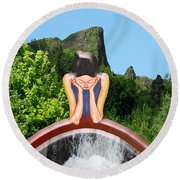 Thinking About You Round Beach Towel