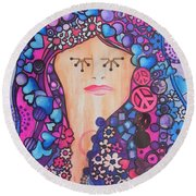 Thinking Of Peace Round Beach Towel