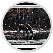 Thirsty Moose Impressionistic Painting With Borders Round Beach Towel