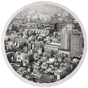 This Is Tokyo In Black And White Round Beach Towel