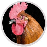 this Rooster Means Business Round Beach Towel