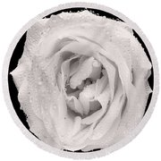 This White Rose Round Beach Towel