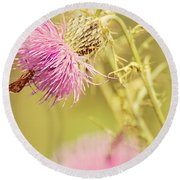 Thistle And Friend Round Beach Towel