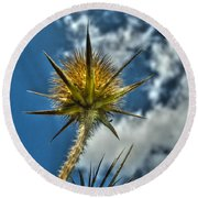 Thistle And Sky Round Beach Towel