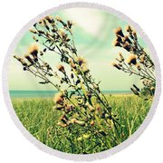 Thistle On The Beach  Round Beach Towel