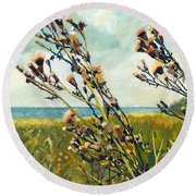 Thistles On The Beach - Oil Round Beach Towel by Michelle Calkins