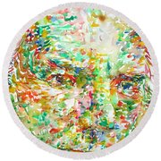 Thomas Bernhard Watercolor Portrait Round Beach Towel