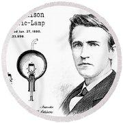 1880 Thomas Edison Electric Lamp Patent Art 2 Round Beach Towel