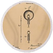 Thomas Edison Patent Application For The Light Bulb Round Beach Towel by Movie Poster Prints