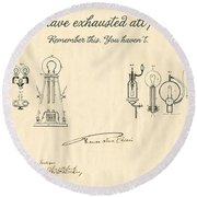 Thomas Edison Quote Round Beach Towel