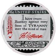 Thomas Jefferson American Credo Vintage Postage Stamp Print Round Beach Towel