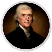 Thomas Jefferson By Rembrandt Peale Round Beach Towel by Bill Cannon