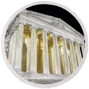 Thomas Jefferson Memorial At Night  Round Beach Towel