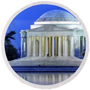 Thomas Jefferson Memorial At Night Reflected In Tidal Basin Round Beach Towel