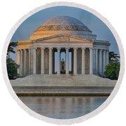 Thomas Jefferson Memorial At Sunrise Round Beach Towel