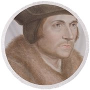 Thomas More Round Beach Towel by Hans Holbein the Younger