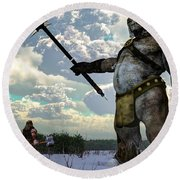 Thor And The Frost Giant Round Beach Towel