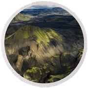 Thorsmork Valley In Iceland Round Beach Towel