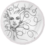 Thought Waves Round Beach Towel