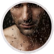 Thoughtful Man Face Under Pouring Water Round Beach Towel by Oleksiy Maksymenko