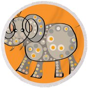 Thoughts And Colors Series Elephant Round Beach Towel