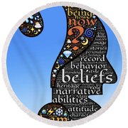 Thoughts And Words Round Beach Towel