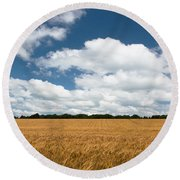 Thoughts Of A Wheatfield Round Beach Towel