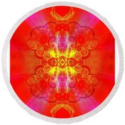 Thoughts Of Love And Light Transforming Round Beach Towel