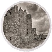 Threave Castle In Grey Round Beach Towel