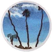 Three Abstract Palm Trees  Round Beach Towel