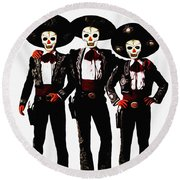 Three Amigos - Day Of The Dead Round Beach Towel