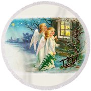 Three Angels In White Dresses Round Beach Towel