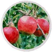 Three Apples On Tree Round Beach Towel