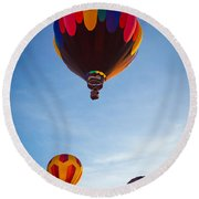 Three Balloons Round Beach Towel by Inge Johnsson