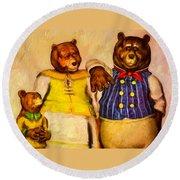 Three Bears Family Portrait Round Beach Towel by Bob Orsillo