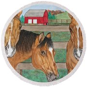 Three Beautiful Horses Round Beach Towel