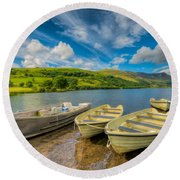 Three Boats Round Beach Towel by Adrian Evans