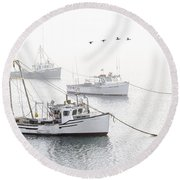 Three Boats Moored In Soft Morning Fog  Round Beach Towel