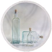 Three Bottles Round Beach Towel