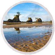 Three Brothers Rock Formation Near The Oregon Coast Round Beach Towel