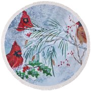 Three Cardinals In The Snow With Holly Round Beach Towel