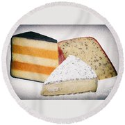 Three Cheese Wedges Distressed Round Beach Towel