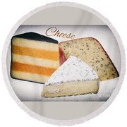 Three Cheese Wedges Distressed Text Round Beach Towel