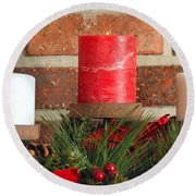 Three Christmas Candles Round Beach Towel by Kenneth Sponsler