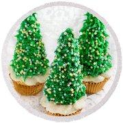 Three Christmastree Cupcakes  Round Beach Towel