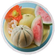 Three Different Melons In Bowl (overhead View) Round Beach Towel