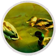 Three Ducks On Golden Pond Round Beach Towel