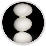 Three Eggs Round Beach Towel