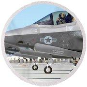 Three F-35b Lightning IIs At Marine Round Beach Towel